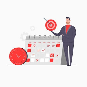 Zakenman karakter concept illustratie presentatie doel tijdbeheer