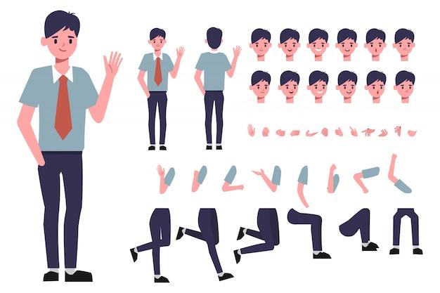 Zakenman karakter creatie voor animatie. klaar voor geanimeerde gezichtsemotie en mond.