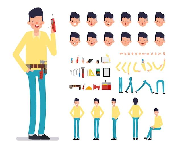 Zakenman karakter creatie voor animatie.