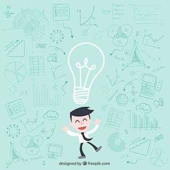 Zakenman karakter hebben van ideeën