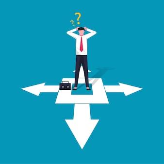 Zakenman karakter illustratie verward besluit in zaken met pijl richting teken. keuzes, carrièregroei, verward geestconcept.