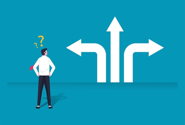 Zakenman karakter illustratie verward besluit te nemen in zaken met pijl richting teken. keuzes, carrière, verward geestconcept.