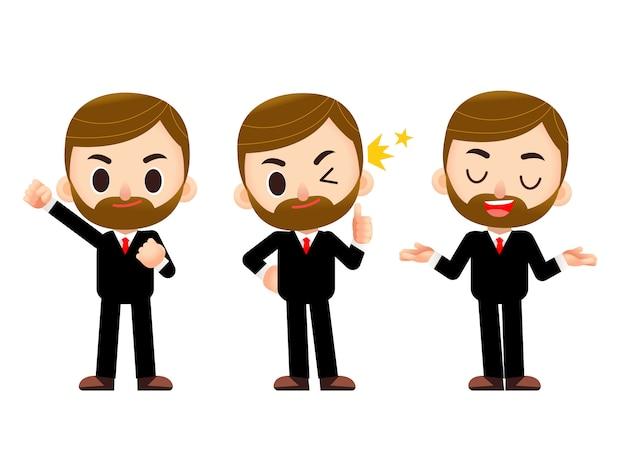 Zakenman karakter in verschillende actie vormt geïsoleerd op een witte achtergrond