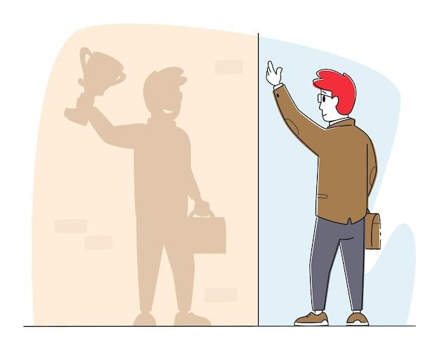 Zakenman karakter kijk op muur schaduw zie zichzelf als succesvolle leider met winnaarstrofee
