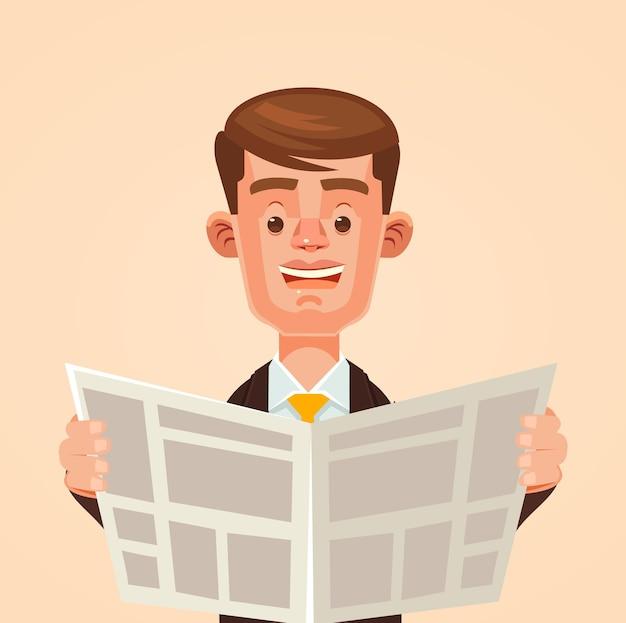 Zakenman karakter krant lezen