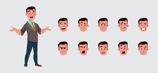 Zakenman karakter met verschillende gezichtsemoties.