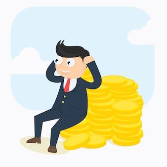 Zakenman karakter ontspannen met geld cartoon vector ontwerp