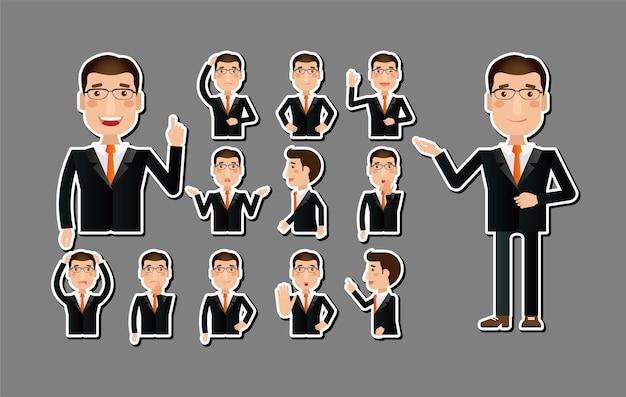 Zakenman karakter pictogrammen