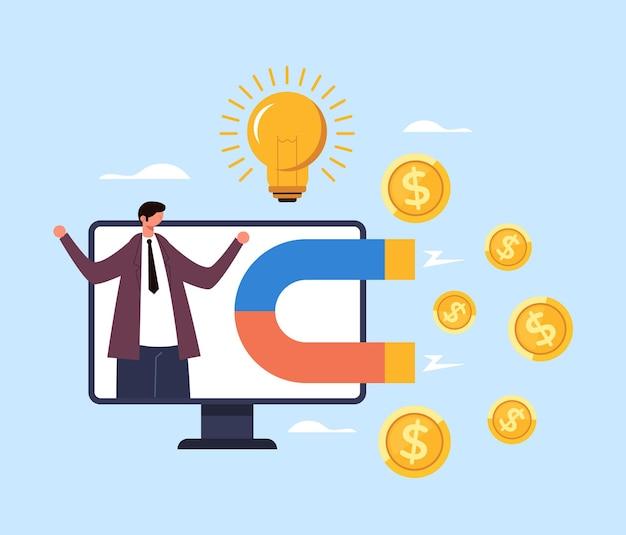 Zakenman karakter trekt geld inkomen salaris. succesvol bedrijfsconcept.