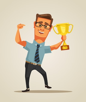 Zakenman karakter winnaar. platte cartoon afbeelding