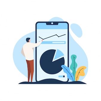 Zakenman kijkt bedrijfsgegevensanalyse met staande telefoon