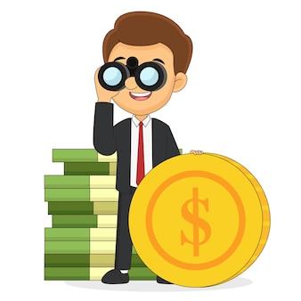 Zakenman kijkt door een verrekijker en in de buurt van het geld