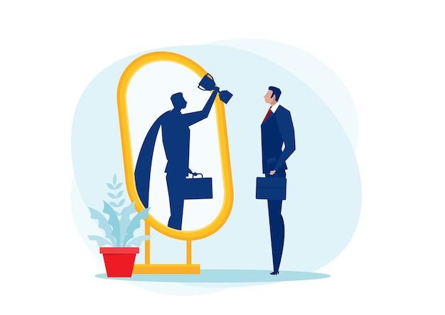 Zakenman kijkt in de spiegel en ziet superkoningin. zelfverzekerde kracht. zakelijke leiding. op blauwe achtergrond