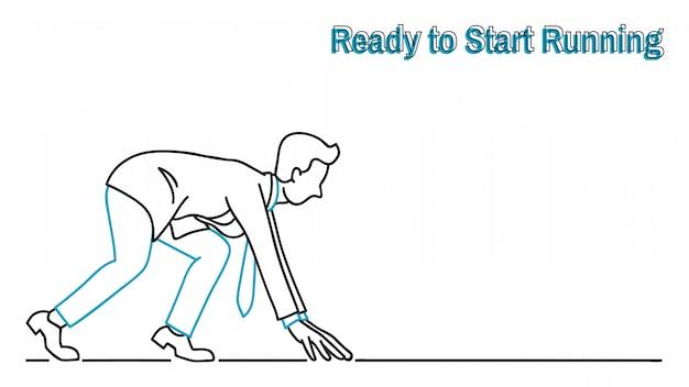 Zakenman klaar om te beginnen met rennen