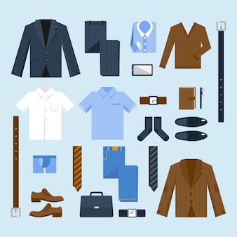 Zakenman kleding pictogrammen instellen
