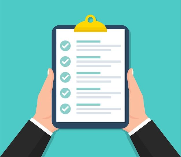 Zakenman klembord met checklist houden in vlakke stijl