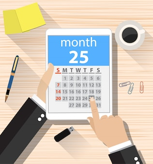 Zakenman klikt op de app van de dagkalender