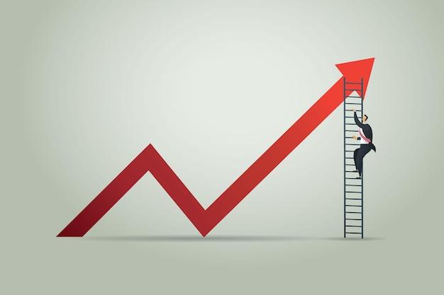 Zakenman klimmen ladder door op de groei van de grafiek. bedrijfsconcept illustratie vector
