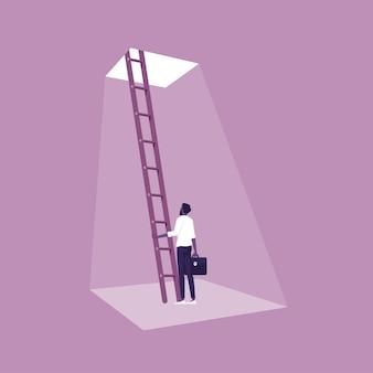 Zakenman klimmen ladder naar de deur van vrijheid concept van nieuwe kansen