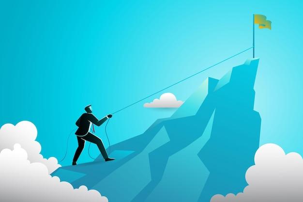 Zakenman klimmen naar de top van de berg met behulp van touw om een vlag te bereiken