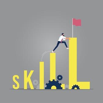 Zakenman klimt vaardigheidswoord naar de top met uitdaging, groei van vaardigheidsniveaus, toenemende vaardigheidsniveau