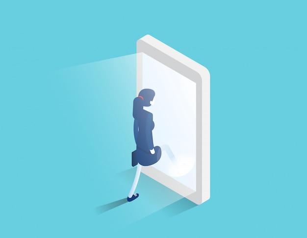 Zakenman komt een gloeiende smartphone-scherm. digitaal portaal en toegang