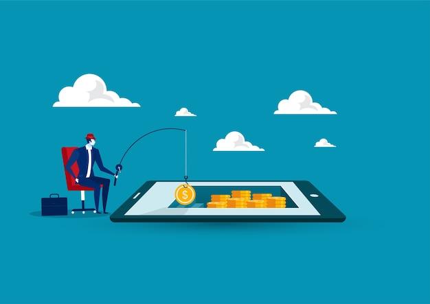 Zakenman kreeg geldzak door op de tablet te vissen, bedrijfssituatie die geldconcept, vlak ontwerp vinden