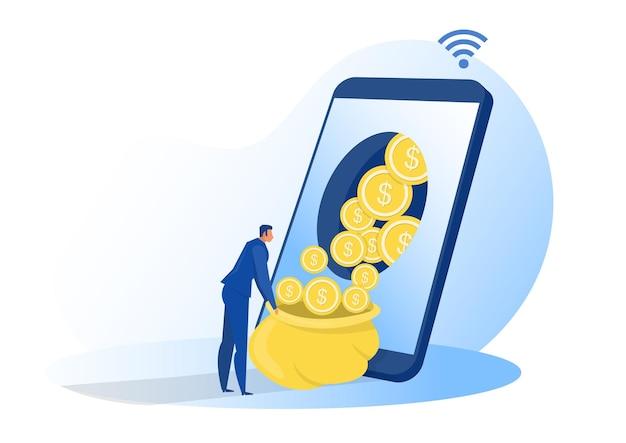 Zakenman krijgt online winst van smartphone, scherm zittend op geld en munten. financiën succes, geld rijkdom concept