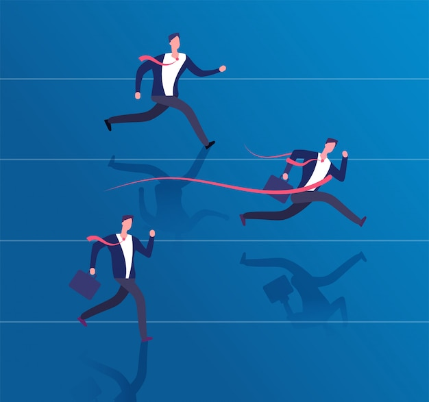 Zakenman kruising finishlijn. succes behalen, leiderschap en winnende bedrijfsconcept