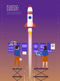 Zakenman lanceert raket in de lucht, werknemer voert het opstarten van het ruimtevaartuig uit. opstarten bedrijfsconcept. illustraties.