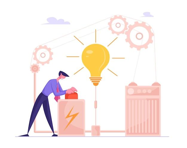 Zakenman lancering bedrijfsproject opstarten of financiën idee rode knop te drukken