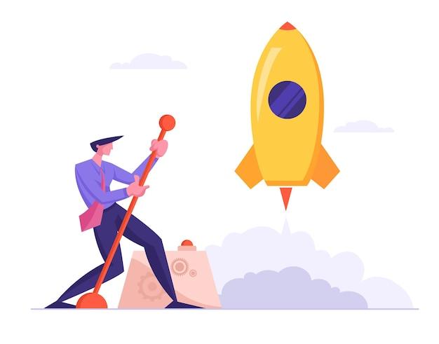 Zakenman lancering bedrijfsproject ruimteschip opstarten. realisatie en succes van financiële ideeën