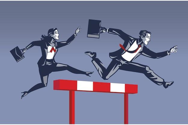 Zakenman leiden in hindernissen rennen concurrentie voor zakelijke vrouw blauwe kraag conceptuele afbeelding