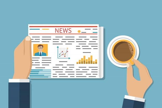 Zakenman lezen van een krant, koffie drinken.