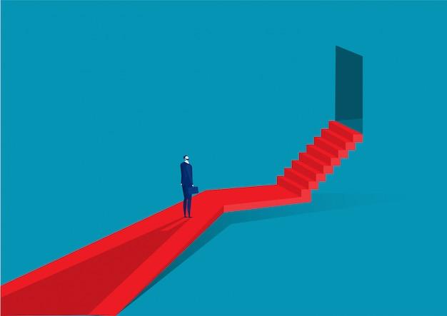 Zakenman loopt de trap op naar de deur van succes