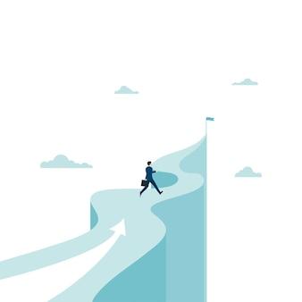 Zakenman loopt naar het doel op de berg. concept zakelijk succes. leiderschap, ambitie. eps-10 vectorillustratie plat