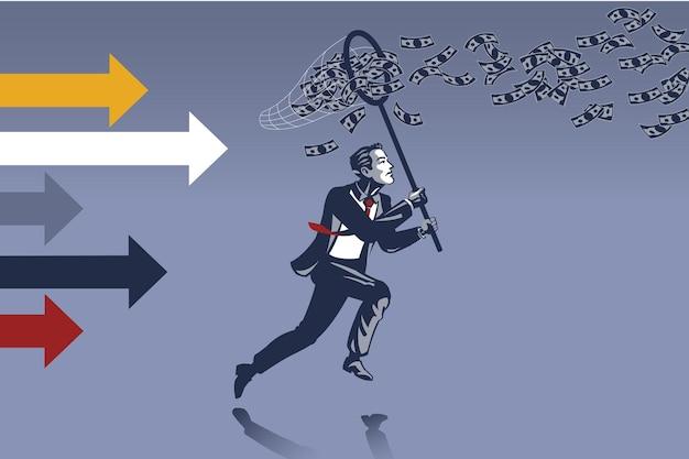 Zakenman loopt proberen om geld te vangen vliegen in de lucht met vlindernet blauwe kraag illustratie concept