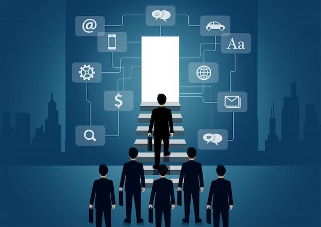 Zakenman lopen de trap op naar de deur. verhoog de ladder naar het succesdoel in het leven en de voortgang van het werk