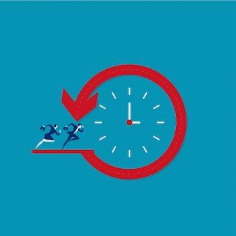 Zakenman lopen rond de tijd dat de werknemer concept vector