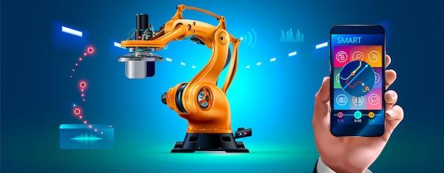 Zakenman management slimme fabriek met robotarmen en transportband via smartphone verbonden