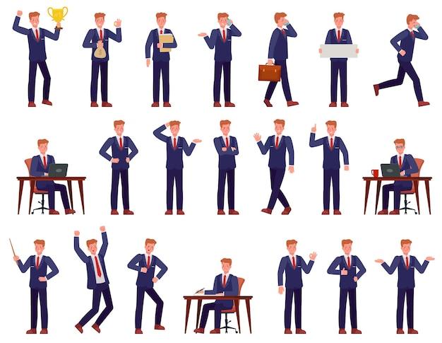 Zakenman. manager drukke werkplek, toont presentatie, werkt op pc, gaat en spreekt op telefoon, succes carrière stripfiguren. kantoormedewerker met verschillende emoties, boos, blij, met idee