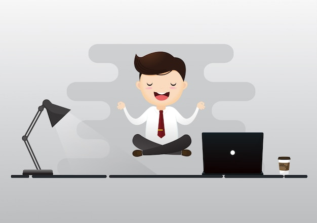 Zakenman meditatie concept