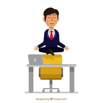 Zakenman mediteren in het kantoor