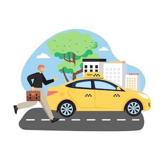 Zakenman met aktetas die gele taxi, vlakke afbeelding probeert te vangen