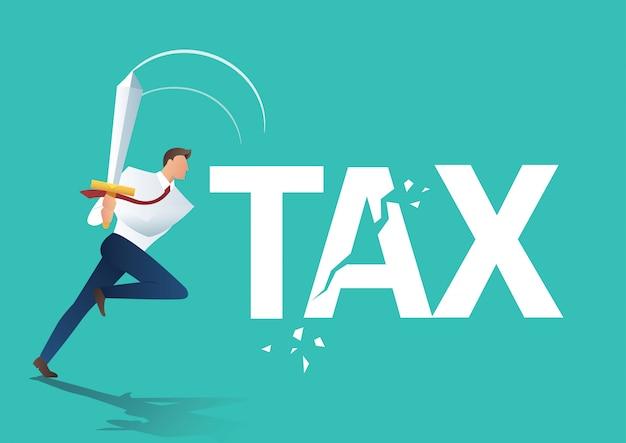 Zakenman met behulp van zwaard gesneden belasting