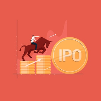 Zakenman met beursintroductieconcept beursintroductie groeiende aandelenmarkt met bull