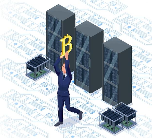 Zakenman met bitcoin geïsoleerd symbool