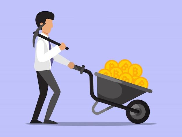Zakenman met bitcoins kruiwagen.