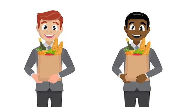 Zakenman met boodschappentas met groenten