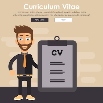 Zakenman met cv-document. human resources management